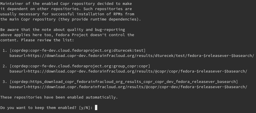 Dnf warning when enabling a project with dependencies.
